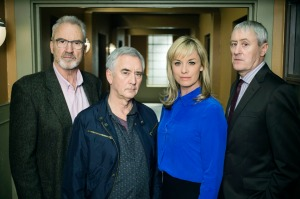 Programme Name: New Tricks - TX: n/a - Episode: New Tricks Series 12 - generics (No. n/a) - Picture Shows: Early release image Ted Case (LARRY LAMB), Steve McAndrew (DENIS LAWSON), DCI Sasha Miller (TAMZIN OUTHWAITE), Danny Griffin (NICHOLAS LYNDHURST) - (C) Headstrong Pictures - Photographer: Amanda Searle