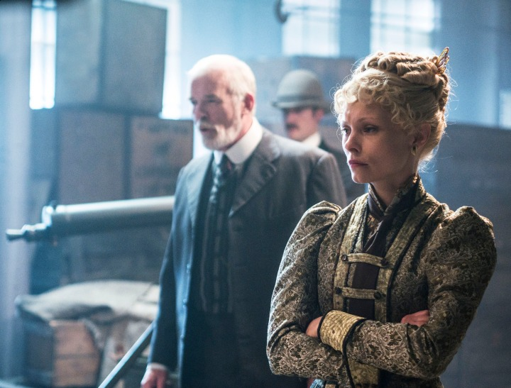 Programme Name: Ripper Street - TX: n/a - Episode: n/a (No. 8) - Picture Shows: TP Swift (IAN MCELHINNEY), Long Susan (MYANNA BURING) - (C) Tiger Aspect 2014 - Photographer: Bernard Walsh