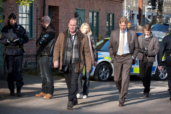 Programme Name: Beck - TX: n/a - Episode: Buried Alive (No. Buried Alive) - Picture Shows: (L-R) Martin Beck (PETER HABER), Lena Klingström (STINA RAUTELIN), Gunvald Larsson (MIKAEL PERSBRANDT), Oskar Bergman (MÅNS NATHANAELSON) - (C) Nordisk Film Production AB & Filmlance International AB - Photographer: Bengt Wanselius