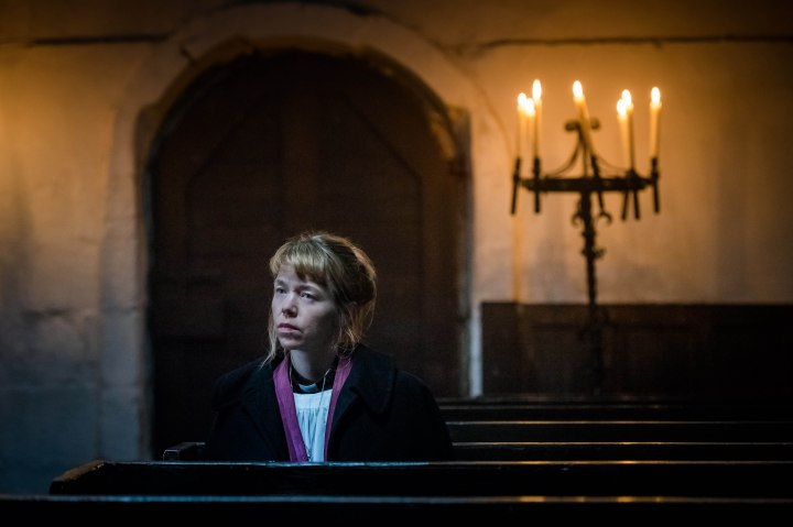 From ITV Studios Midwinter Of The Spirit: Ep1 on ITV Pictured: Rev. Merrily Watkins [Anna Maxwell Martin]. Merrily is deeply human in her doubts and scepticism, but her knowledge of the paranormal underworld brings her to the notice of local police who need her advice in the investigation of a grisly murder. This photograph is (C) ITV Plc and can only be reproduced for editorial purposes directly in connection with the programme or event mentioned above, or ITV plc. Once made available by ITV plc Picture Desk, this photograph can be reproduced once only up until the transmission [TX] date and no reproduction fee will be charged. Any subsequent usage may incur a fee. This photograph must not be manipulated [excluding basic cropping] in a manner which alters the visual appearance of the person photographed deemed detrimental or inappropriate by ITV plc Picture Desk. This photograph must not be syndicated to any other company, publication or website, or permanently archived, without the express written permission of ITV Plc Picture Desk. Full Terms and conditions are available on the website www.itvpictures.com For further information please contact: james.hilder@itv.com / 0207 157 3052