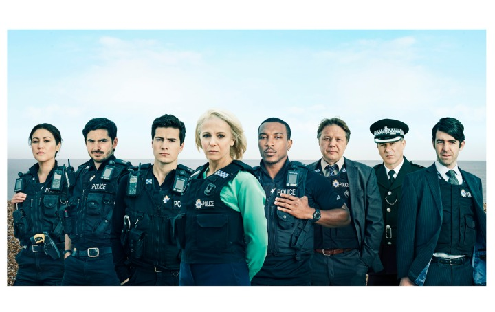 Programme Name: Cuffs - TX: n/a - Episode: n/a (No. 1) - Picture Shows:  PC Donna Prager (ELEANOR MATSUURA), PC Lino Moretti (ALEX CARTER), PC Jake Vickers (JACOB IFAN), DS Jo Moffat (AMANDA ABBINGTON), PC Ryan Draper (ASHLEY WALTERS), DC Carl Hawkins (SHAUN DOOLEY), SUPT Robert Vickers (PETER SULLIVAN), DI Felix Kane (PAUL READY) - (C) Tiger Aspect - Photographer: Tiger Aspect