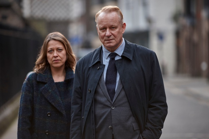 WARNING: Embargoed for publication until 27/10/2015 - Programme Name: River - TX: n/a - Episode: River (No. Ep 4) - Picture Shows: *STRICTLY EMBARGOED UNTIL TUESDAY 27TH OCTOBER, 2015** Stevie (NICOLA WALKER), John River (STELLAN SKARSGARD) - (C) Kudos - Photographer: Nick Briggs