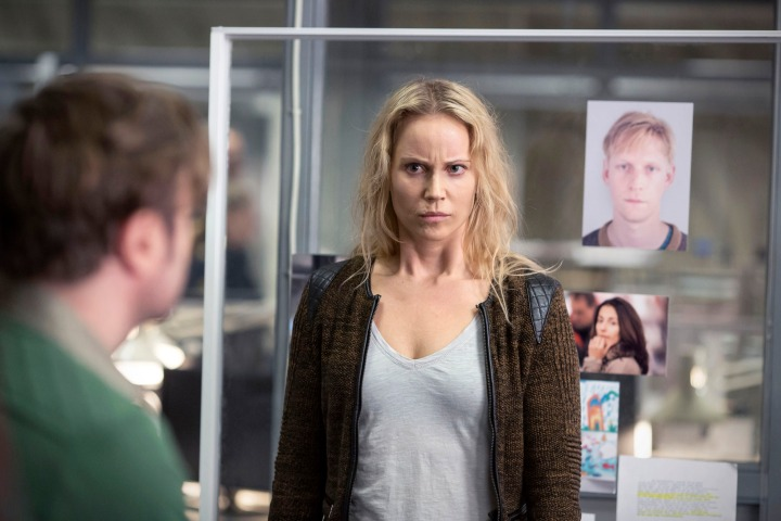 Programme Name: The Bridge - TX: n/a - Episode: The Bridge - series 3 - ep 4 (No. 4) - Picture Shows: Saga speculating on where fugitive Rikard Jonssen may be hiding Saga Norén (SOFIA HELIN) - (C) Filmlance International AB - Photographer: Carolina Romare