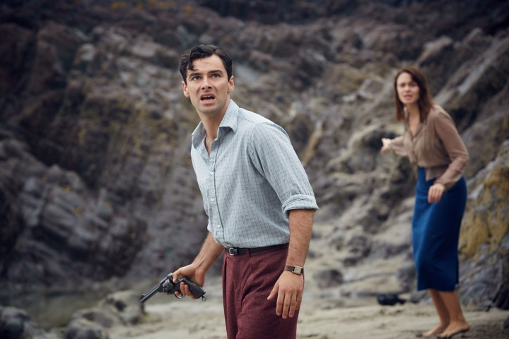 WARNING: Embargoed for publication until 00:00:01 on 03/12/2015 - Programme Name: And Then There Were None - TX: n/a - Episode: n/a (No. 3) - Picture Shows: Philip Lombard (AIDEN TURNER), Vera Claythorne (MAEVE DERMODY) - (C) Mammoth Screen - Photographer: Robert Viglasky