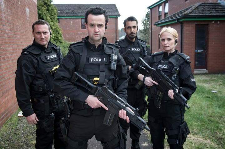 WARNING: Embargoed for publication until 20:30:01 on 07/03/2016 - Programme Name: Line of Duty - TX: n/a - Episode: n/a (No. n/a) - Picture Shows: PC Rod Kennedy (WILL MELLOR), Sgt Danny Waldron (DANIEL MAYS), PC Hari Bains (ARSHER ALI), PC Jackie Brickford (LEANNE BEST) - (C) World productions - Photographer: Steffan Hill