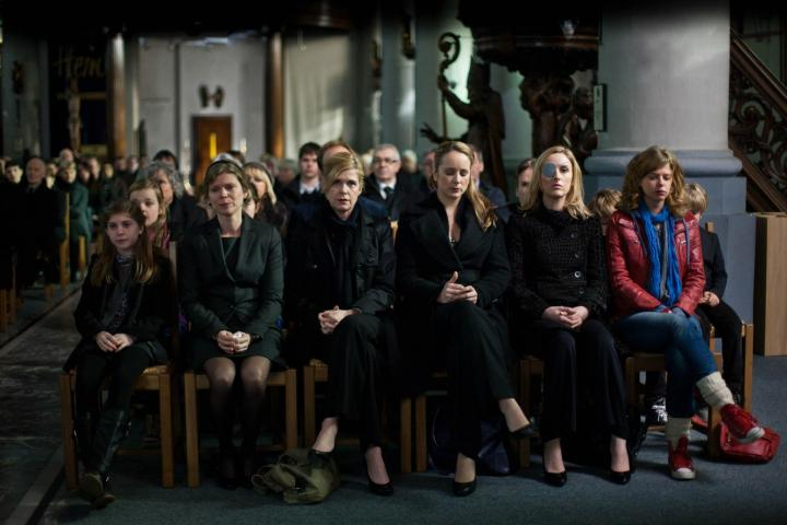 Goedele, Eva, Veerle, Birgit and Bekka at Jean Claude's funeral.
