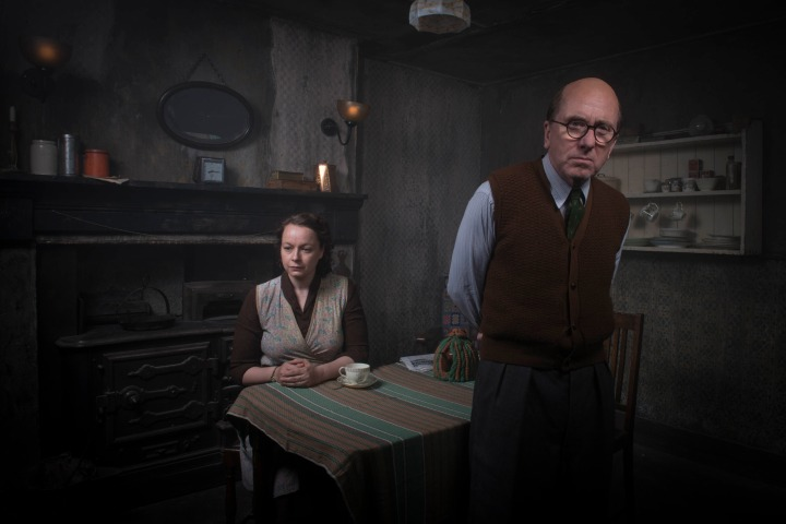 Programme Name: Rillington Place - TX: n/a - Episode: n/a (No. n/a) - Picture Shows: Ethel Christie (SAMANTHA MORTON), John Christie (TIM ROTH) - (C) BBC - Photographer: Des Willie