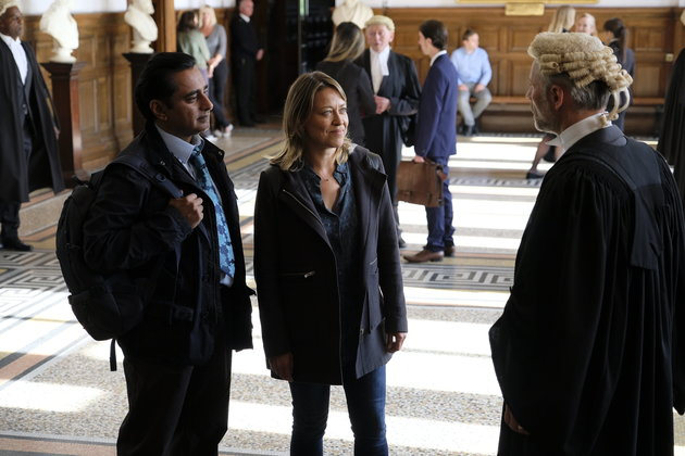 ITV UNFORGOTTEN SERIES 2 EPISODE 2 Pictured : NICOLA WALKER as Cassie and SANJEEV BHASKAR as Sunny This photograph is (C) ITV Plc and can only be reproduced for editorial purposes directly in connection with the programme or event mentioned above. Once made available by ITV plc Picture Desk, this photograph can be reproduced once only up until the transmission [TX] date and no reproduction fee will be charged. Any subsequent usage may incur a fee. This photograph must not be manipulated [excluding basic cropping] in a manner which alters the visual appearance of the person photographed deemed detrimental or inappropriate by ITV plc Picture Desk.  This photograph must not be syndicated to any other company, publication or website, or permanently archived, without the express written permission of ITV Plc Picture Desk. Full Terms and conditions are available on the website www.itvpictures.com For further information please contact: Patrick.smith@itv.com 0207 1573044